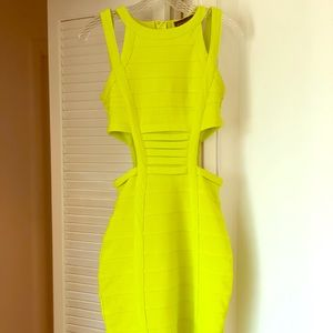 Missguided lime green bodycon midi dress